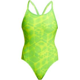 Funkita Diamond Back Traje Baño Una Pieza Mujer, verde/amarillo